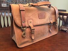 ORVIS / GOKEY Tan Saddle Leather Briefcase / Messenger Bag - MADE IN USA