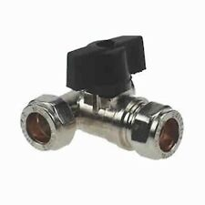 Lever operated chrome plated brass tee isolating valve 15mm 3 way valve