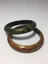 Bangle Bracelet Boho Festival Tribal Gypsy Wood Fashion Pair of Bracelets Wooden