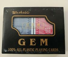 2 Decks of NEW Gem 100% Plastic Playing Cards, Red/Blue, Bridge Size