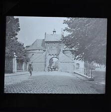 Magic Lantern Slide Photo Belgium Bruges Smedenport City Gate West Newton & Co