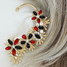 Statement Gold Black Siam Crystal Cocktail BIG Ear Cuff Earring Rocks Boutique