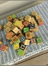Lot Of 55 Each Used Wooden Character Blocks Toy Letter Blocks