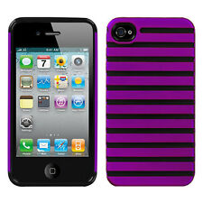 Apple iPhone 4 4S HARD Hybrid Rubber Silicone Case Phone Cover Purple Railing