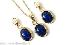 9ct Gold Lapis Lazuli Pendant and Earring Set Gift Boxed Made in UK