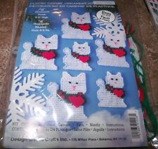 """Design Works CHRISTMAS CAT  Ornaments Plastic Canvas Kit Makes 12 3"""" to 5"""" Tall"""