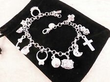 Jangly Silver Plated 13 Charm (Heart, Cross, Ring) bracelet with Free Gift Bag