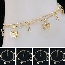Women Charm Gold Butterfly Ankle Chain Anklet Bracelet Foot Jewelry Sandal Beach