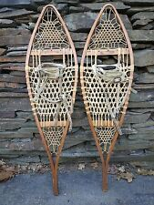 VINTAGE OLD Snowshoes 42x11 Snow Shoes GREAT OLD Leather Bindings