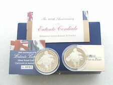 2004 UK France Entente Cordiale £5 Five Pound Silver Proof 1.5 Euro Coin Box Coa