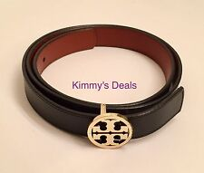 "Tory Burch 1"" Classic Reversible Leather Belt Black & Brown Leather MSRP $175"