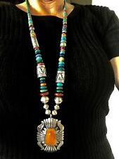 "OLD AUTHENTIC TOMMY SINGER SPINY OYSTER PENDANT on 32"" BEAD NECKLACE W/ DRUMS"