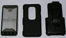 HTC EVO 3D Case with  Holster belt clip, PT Brand Smartcase, all black, new