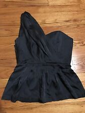 CLUB MONACO Dark Grey Luisa Bustier Silk Pleated One Shoulder Blouse Top Size 6