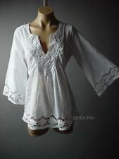 White Embroidered Crochet Bell Sleeve LARP Boho Women Peasant Top 84 ac Blouse M