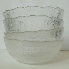 "SET OF 4 Arcoroc FLEUR Clear Glass Dessert BOWLS 5"" Great Condition"