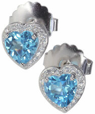 Swiss Topaz Gemstone & Micro Setting Heart 9mm Stud Sterling Silver Earrings