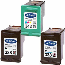 2x HP 338 Black and 1x 343 Colour Ink Cartridges for HP Printers