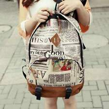 Women Girl Canvas Newspaper Travel Satchel Shoulder School Bag Backpack TXGT