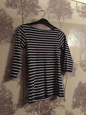 Zara W&B Organic Cotton Blue & White Striped Top Size UK S Approx Sz 6-8