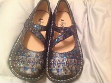 Alegria 0603 Womens Jil Multi Leather Shimmer Flatforms Mary Janes Shoes 36