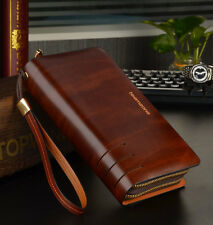 teemzone Men's Wallet Purse Handbag Briefcase Brown Clutch Bag Genuine Leather