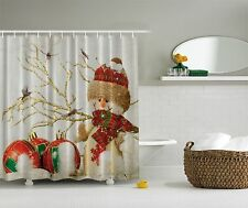 Winter Holiday Snowman Christmas Fabric Shower Curtain Digital Bathroom