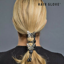 "Hair Glove® 4"" Leather Lace Up Chrome Tribal Butterfly, 31455, Ponytail Holder"