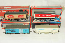OO HO gauge GOOD USED 4x Lima Modern Vans Heinz Grimsby Fish Tuborg Interfrigo