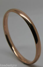 9ct solid Rose gold 7mm Hollow GOLF bangle 65mm diameter *FREE EXPRESS POST OZ*