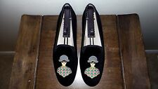 "SO CUTE! $450 Stubbs and Wootton Black Velvet ""Embroidered"" Slipper Loafer Shoe"