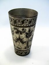 """~ Antique INDO-PERSIAN Silvered Brass Tumbler Vase 5.75"""" Hand Tooled Cup #4"""