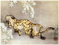 A3 SIZE - Japanese Traditional Tiger In The Snow Woodblock Poster Print Art