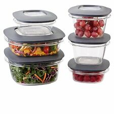 Rubbermaid Premier Food Storage Containers, 12-Piece Set, Grey