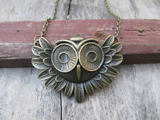 antique brass owl necklace , owl charm steampunk necklace m23