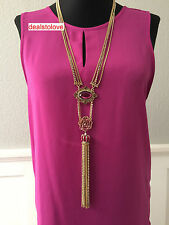 NWT Betsey Johnson Pink Crown Jewel Flower Lariat Long Crystal Gold Necklace