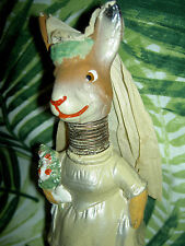 RARE antique sgnd. Germany c1915 Bobble Head BUNNY Bride Rabbit candy container