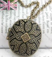 ORNATE FILIGREE LOCKET pendant NECKLACE vintage brass TOPAZ CRYSTAL rhinstone
