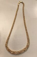 """Beautiful Solid 14K Gold Heavy Graduated Byzantine Necklace 15g 17.5"""" Italy"""
