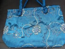 SHOULDER BAG - BLUE - EMBROIDERED THAI SILK - FULLY LINED WITH ZIP CLOSURE