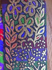 """2"""" Woven Embroidery Jacquard Ribbon Trim Gold flowers on colorful background"""