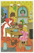 UNUSED Vintage Greeting Card Christmas Family Old-Fashioned Kitchen L16