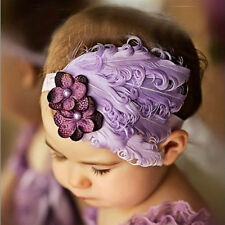 Cute Toddlers Kids Baby Rhinestone Flowers Feather Hearwear Hairband Headband