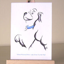 Art Deco WDCC Lady and the Tramp ACEO card miniature drawing with blue collar