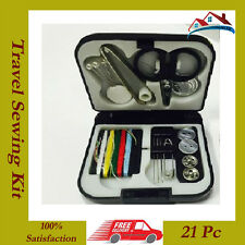 New 21pc Travel Sewing Kit Thread Needles Mini Case With Scissors Tape Pin Set