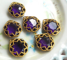 #746 Vintage Filigree Findings Charms Pendants Gold Tone Purple Victorian Beads
