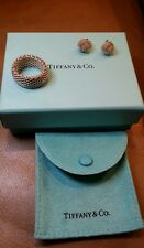 Authentic Tiffany and Co Classic Somerset Mesh 925 Silver Ring size 7 + EARRINGS