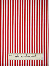 Christmas Red Stripe Fabric-100% Cotton-Red Rooster Black Tie Boogie-2 Piece Lot