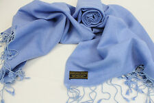 H48 NWT Blue Color  Pashmina Silk Shawl/ Wrap Hand Woven In Nepal