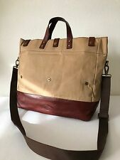Fossil Men's Khaki Canvas Brown Leather Gordon Tote Messenger Bag MBG9241250 NWT